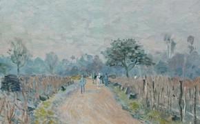 Картинка пейзаж, картина, Alfred Sisley, Альфред Сислей, The Road of Prunay at Bougival