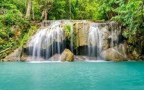 Картинка лес, река, водопад, forest, river, landscape, jungle, blue, beautiful, waterfall, tropical