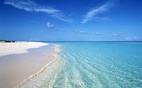 Картинка пляж, прозрачная вода, океан, белый песок