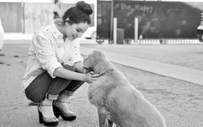Обои девушка, радость, улыбка, доброта, игра, собака, girl, game, happy, smile, dog, black and white, черно- ...