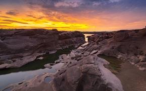 Картинка закат, река, камни, скалы, Thailand, river, nature, stone, sunset, park, beautiful, grand canyon, Sampanbok
