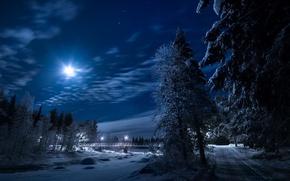 Картинка зима, дорога, деревья, ночь, мост, река, луна, Швеция, Sweden, Lapland, Лаппланд, Gällivare, Елливаре