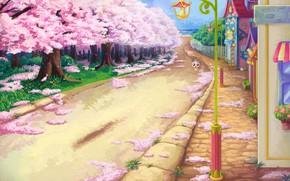 Картинка дом, улица, весна, сакура, арт, прогулка, цветение