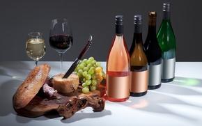 Картинка вино, сыр, бокалы, хлеб, виноград, напитки