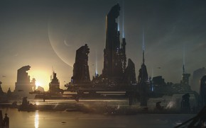 Картинка город, планета, Sci-fi City