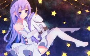 Обои девочка, единорог, azur lane, hms unicorn, космос, аниме
