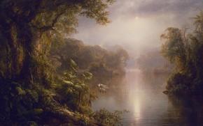 Картинка лес, пейзаж, птицы, река, рассвет, джунгли, живопись, Эль-Рио-де-Люз, Fredrik Edwin Curch