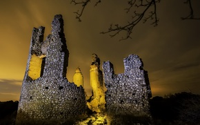 Картинка свет, ночь, руины