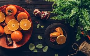Картинка листья, стол, апельсины, тарелки, фрукты, нитки, дольки, ножницы, гранат, хурма