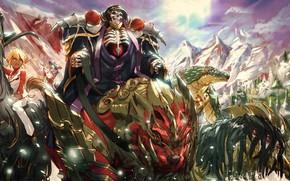 Обои девушка, аниме, арт, скелет, Overlord, Владыка