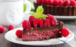 Картинка ягоды, малина, тортик, кусочек