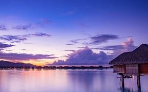 Картинка море, небо, облака, закат, огни, тропики, берег, остров, вечер, Бора-Бора, бунгало, Французская Полинезия
