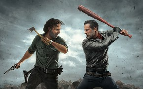 Картинка Jeffrey Dean Morgan, walking dead, andrew lincoln, rick grimes, negan