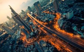 Картинка свет, город, огни, улица, дома, Таиланд, вилка, Бангкок, столица, กรุงเทพมหานคร