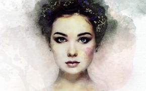 Картинка взгляд, девушка, лицо, арт, прическа