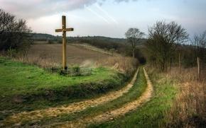 Обои дорога, небо, крест