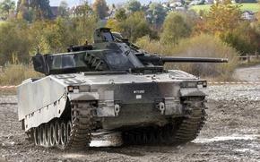 Картинка машина, CV90, боевая, грязь, пехоты