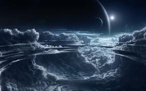 Картинка солнце, космос, звезды, тучи, планеты, space, другие миры, clouds, stars, sun, planets, other worlds