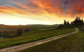 Картинка дорога, небо, закат, дом