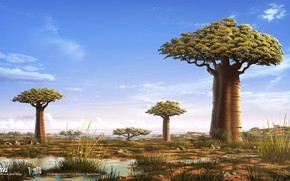 Картинка небо, трава, деревья, лужа, Gus - Petit Oiseau Grand Voyage