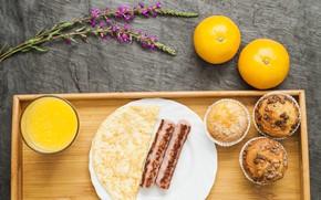 Картинка цветы, апельсины, кекс, колбаски