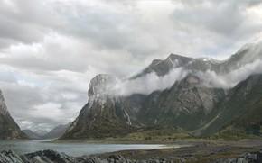 Обои облака, горы, природа, водоём, Norwegian fjords and landscape