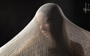 Картинка девушка, фон, ткань
