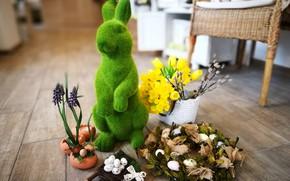 Картинка заяц, яйца, пасха, венок, нарциссы, декор