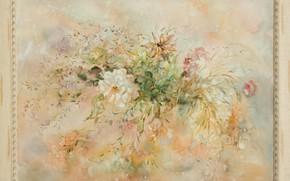 Картинка картина, букет цветов, Натюрморт, Сфумато, сувенирная живопись, Петренко Светлана, отенки розового, отенки серого