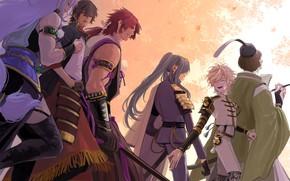 Картинка арт, парни, воины, Touken Ranbu, Танец мечей