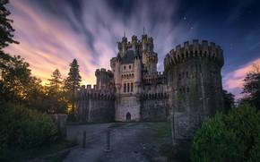 Обои замок, облака, звезды, ночь, Испания, свет, Бискайя