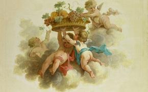 Картинка масло, картина, холст, путто, Четыре Путти с Корзиной Фруктов