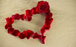 Картинка песок, цветок, красный, креатив, фон, настроение, роза, лепестки, сердечко, День святого Валентина