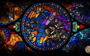 Обои флаг, красота, игра, стекло, жрец, battle, знамя, might and magic heroes, битва, стяг, knight, герои, ...
