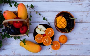 Картинка яблоки, фрукты, fresh, wood, fruits, папайя, мандарины