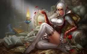 Картинка девушка, вино, бокал, роза, фэнтези, арт, эльфийка, ложе, yunpeng li
