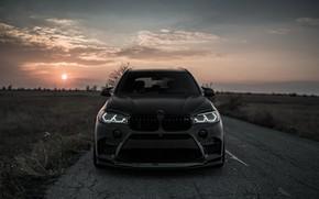 Обои закат, вид спереди, 2018, BMW X5, X5M, Z Performance