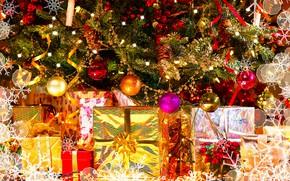 Картинка праздник, шары, игрушки, новый год, ель, подарки
