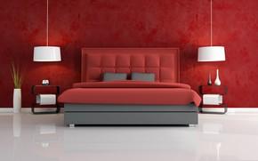 Картинка лампа, кровать, ваза, спальная