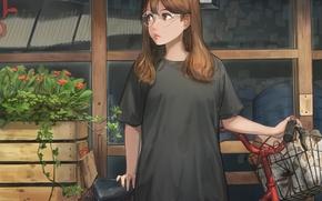 Картинка kawaii, bicycle, asian, glasses, cute, japanese, oriental, shopping, bishojo, store, teenager