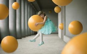 Картинка шары, платье, девочка, левитация