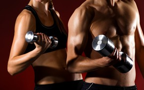 Картинка woman, muscle, man, couple, together, fitness, gym, healthy, health, fit, weight lifting, partners, dumbell, man …