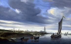 Обои пейзаж, парус, Salomon van Ruysdael, Вид на Девентер, лодка, Саломон ван Рёйсдал, картина