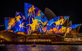 Картинка море, фиолетовый, вода, ночь, синий, желтый, абстракция, город, огни, темнота, люди, праздник, узор, здание, цвет, …