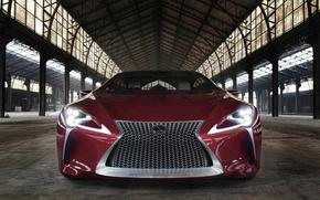 Картинка car, Lexus, red, logo, strong, Lexus LC 500
