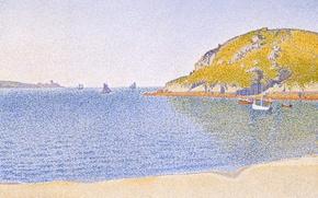 Обои пейзаж, пуантилизм, Порт Сен-Ка, Поль Синьяк, лодка, картина, море