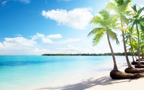 Картинка море, облака, тропики, пальмы