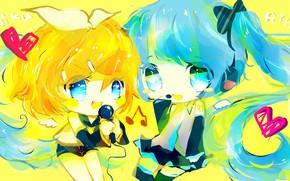 Картинка дети, двое, Vocaloid, Вокалоид, Хатсуне Мику, Кагомине Рин