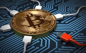 Обои центр, usb-контроллеры, wallpaper., подключение, криптовалюта, биткойн, дорожки, процессор, плата, bitcoin, золотая, деньги, монета, микросхема, абстракция, ...
