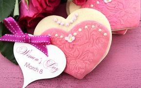 Картинка праздник, розы, печенье, сердечко, бантик, 8 марта